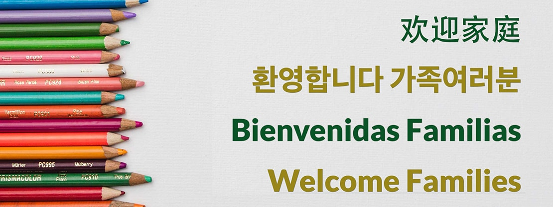 welcome message in Chinese, Korean, Spanish, English
